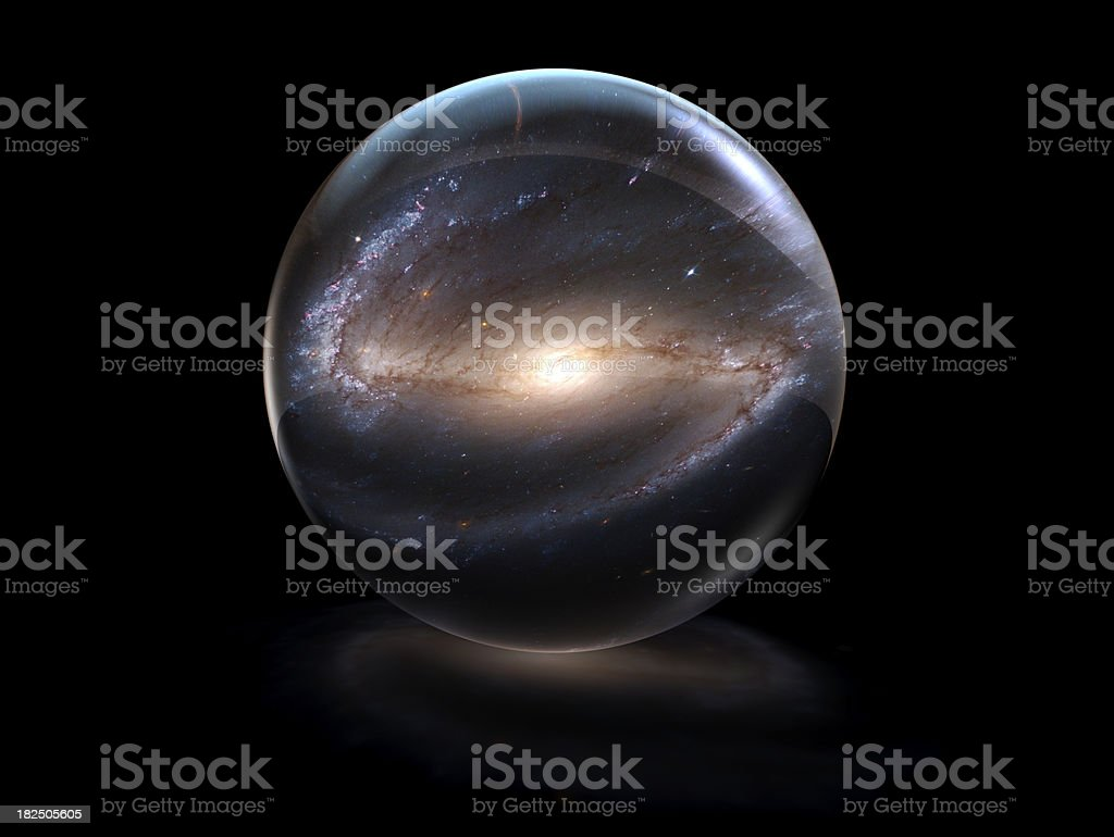 Galaxy in a Crystal Ball stock photo