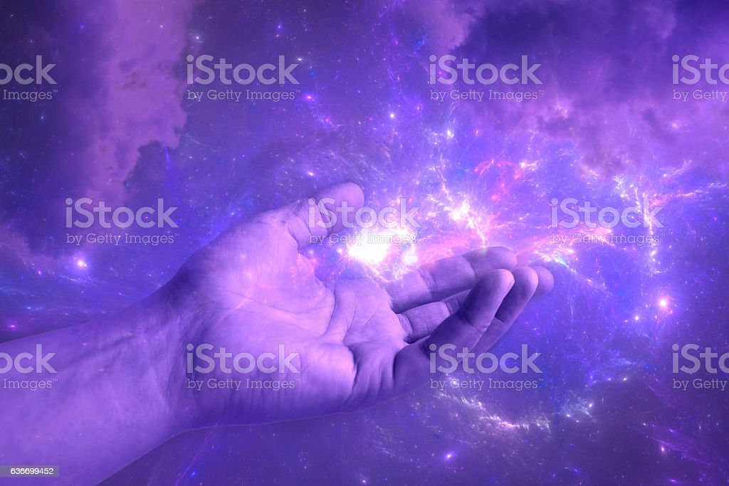 galaxy in the hand, abstract scientific background stock photo