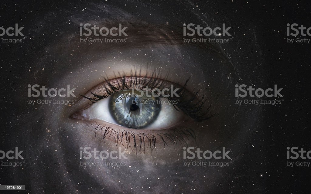 Galaxy with eye. stock photo