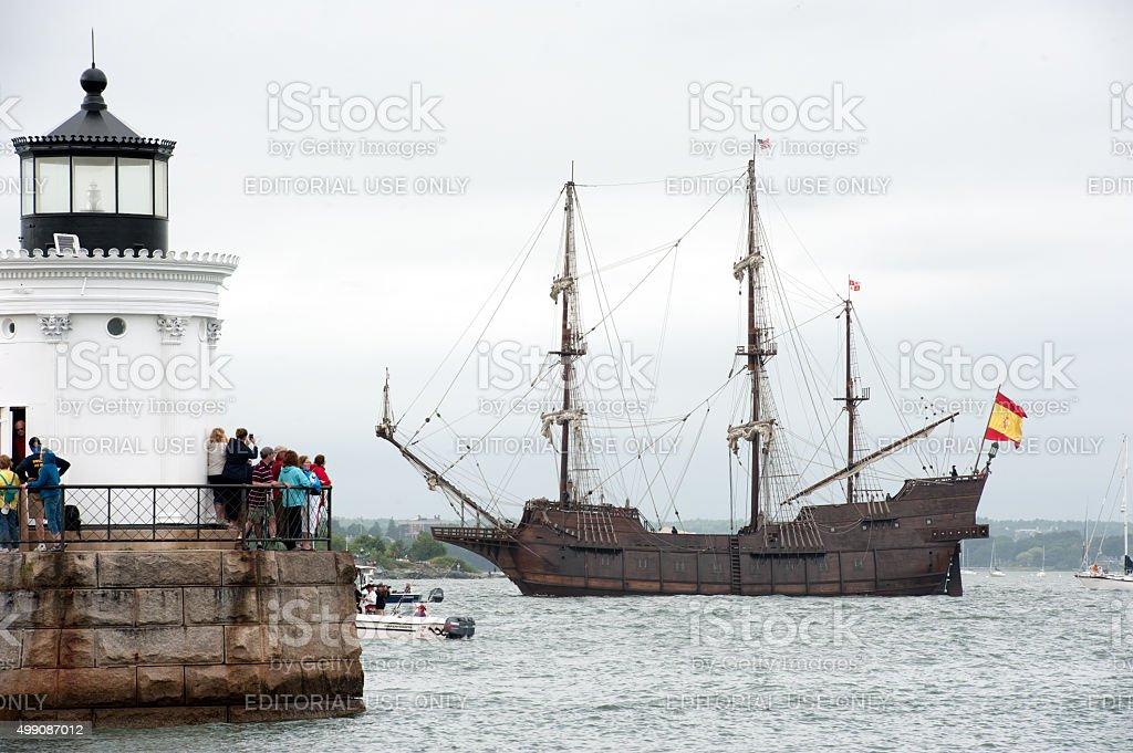 Galeón Andalucía sails past Bug Light for Tall Ships 2015 stock photo