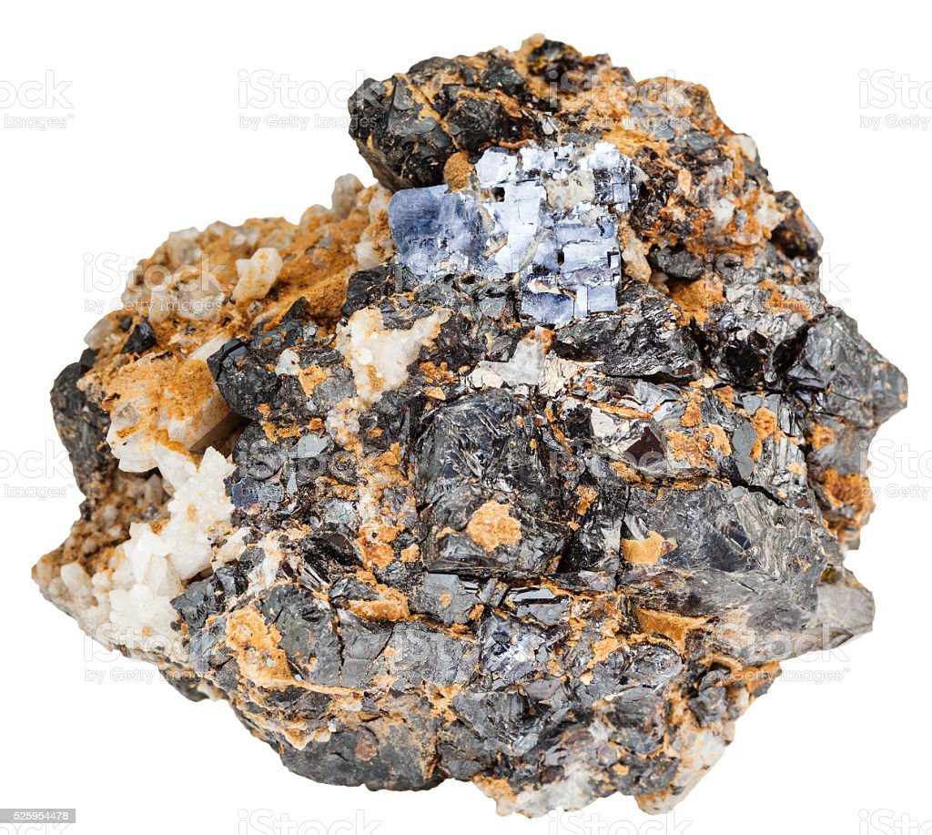 Galena and Sphalerite minerals on dolomite rock stock photo