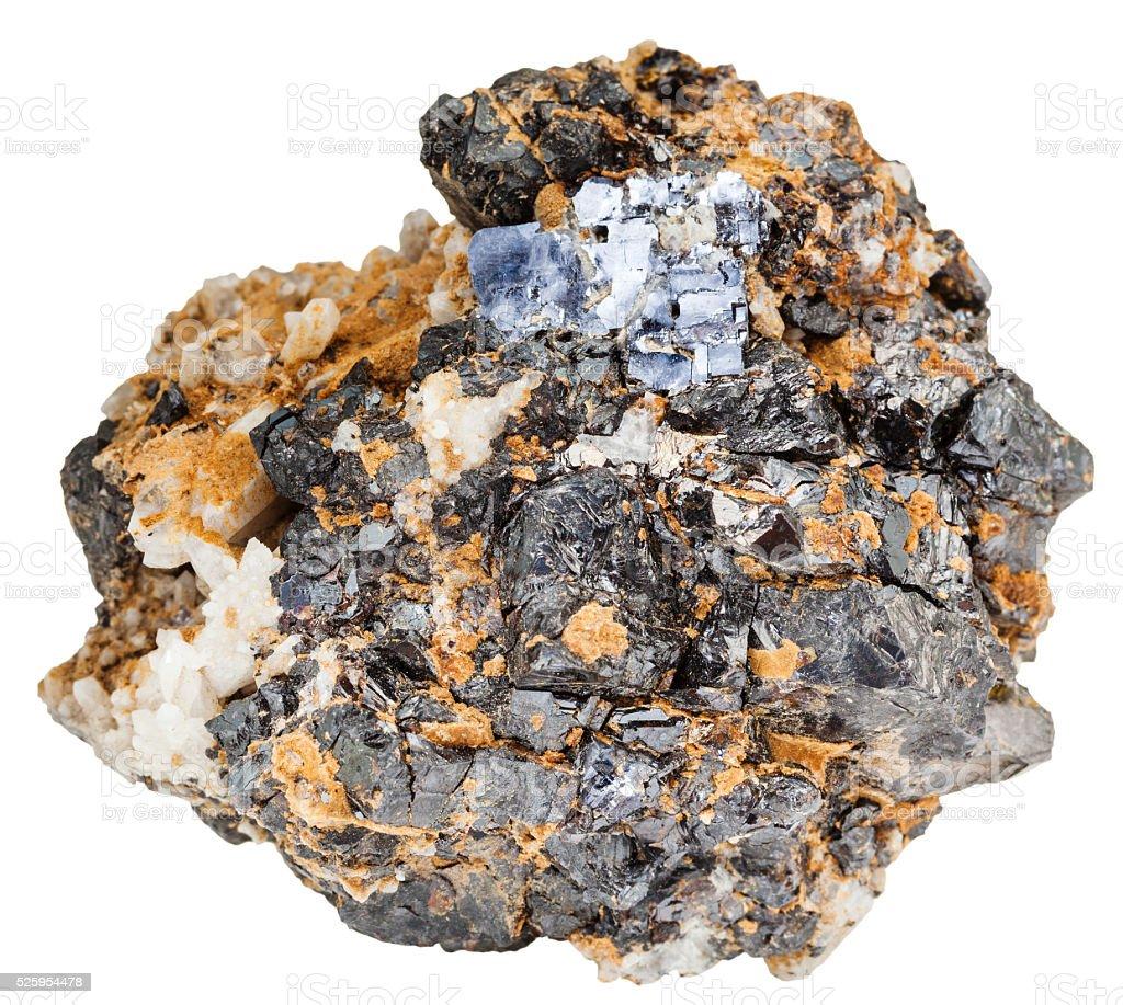 Galena and Sphalerite minerals on dolomite rock stock photo