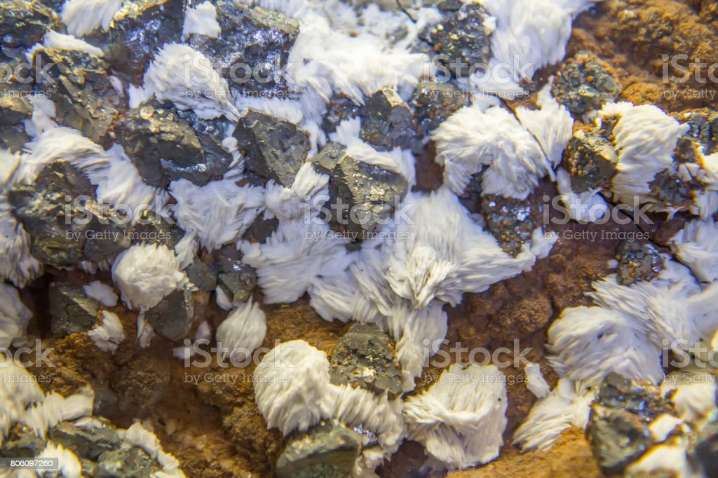 Galenite, baryte and sphalerite mineral stock photo