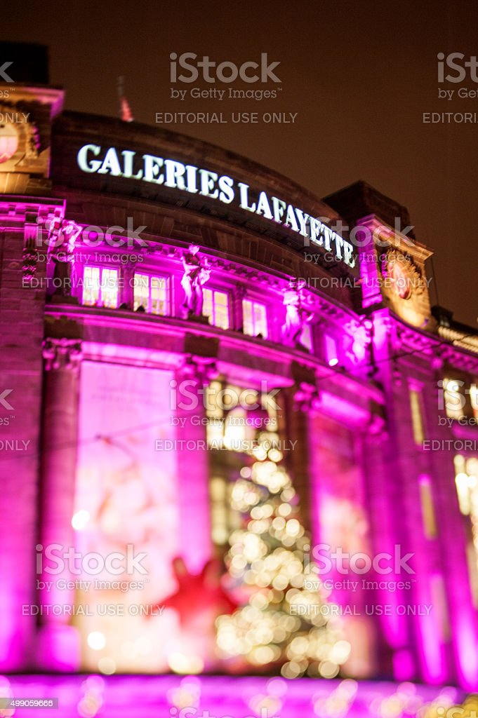 Galeries Lafayette facade with a tilt-shift defocused lens stock photo
