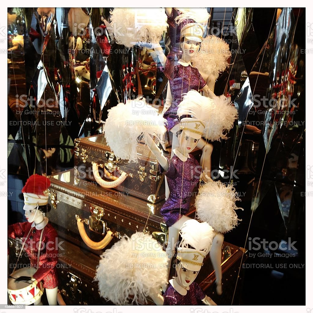 Galeries Lafayette - Louis Vuitton Christmas window display stock photo