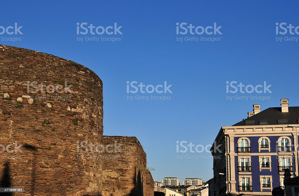 Galicia, Spain: the well preserved Roman Walls of Lugo stock photo