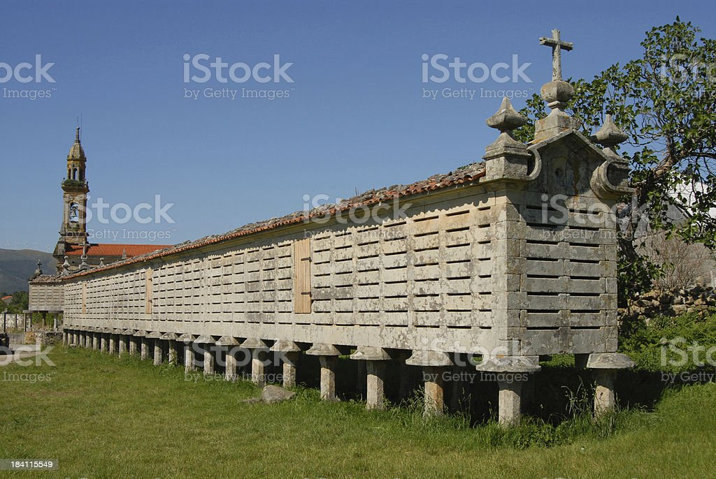Galician Grain Store stock photo