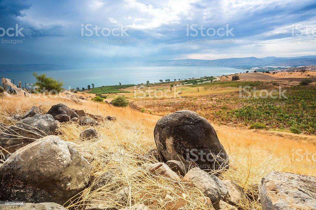 Galilee panorama taken from Mount of Beatitudes stock photo