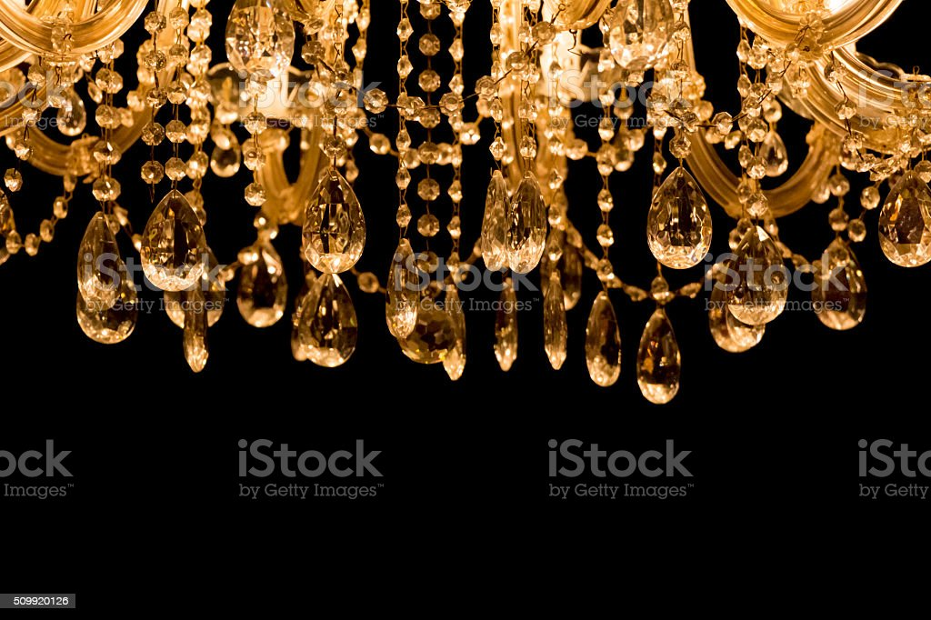 Gallant chandelier with black background and bottom copyspace stock photo