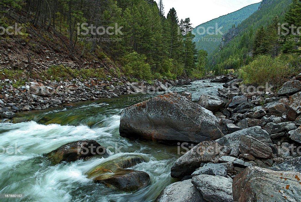 Gallatin River Flows stock photo