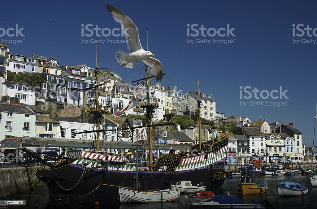 Galleon and the Gull Brixham Harbor Devon UK stock photo