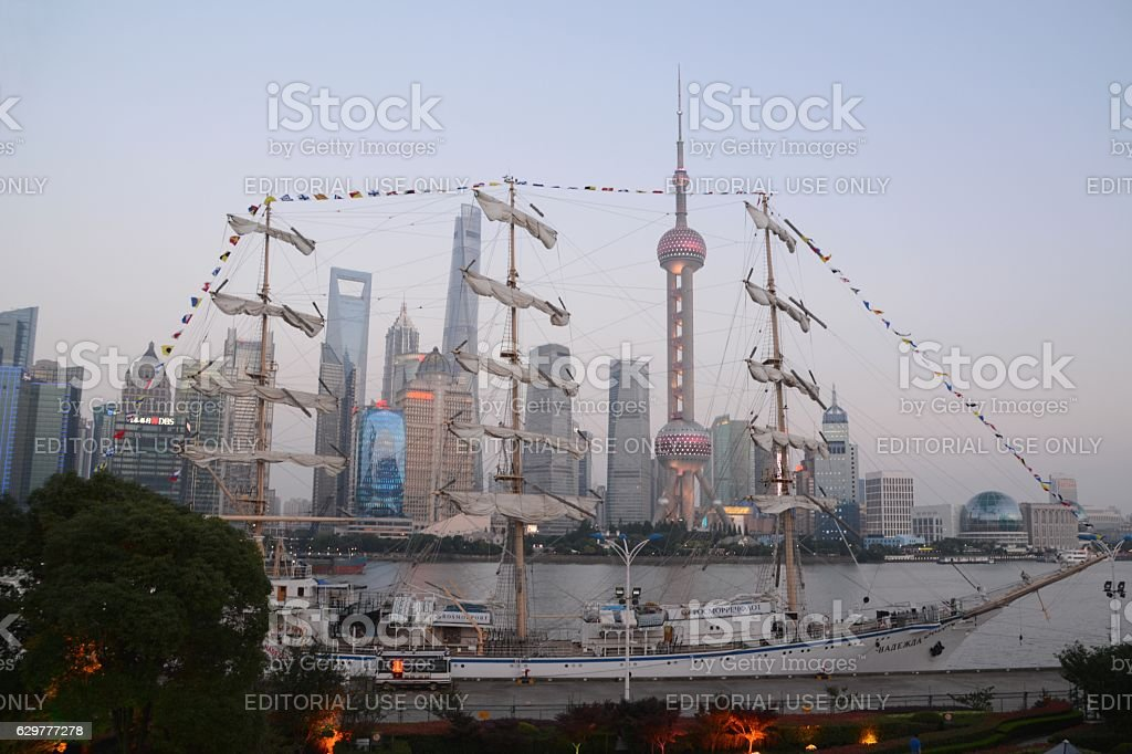 Galleon on the Huangpu River in Shanghai, China stock photo