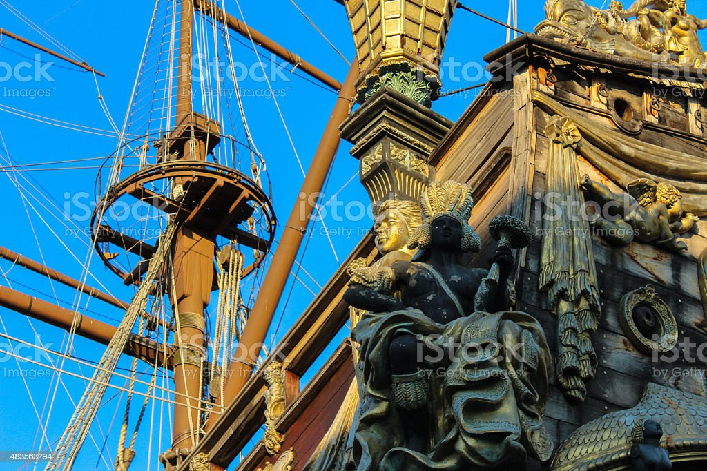 galleon resting after so many battles stock photo