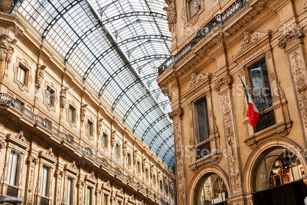 Galleria Emanuele Vittorio II Milano stock photo