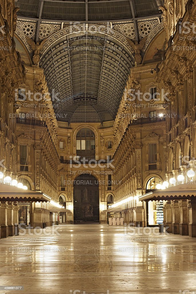 Galleria Vittorio Emanuele II by night. Milan. Italy. royalty-free stock photo