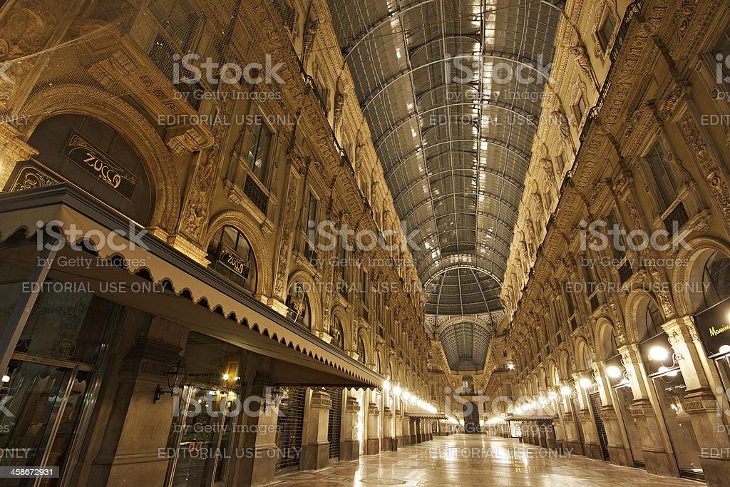 Galleria Vittorio Emanuele II by night. Milan. Italy. royalty-free stock photo