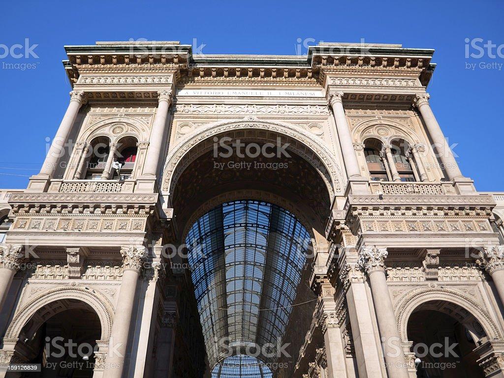 Galleria Vittorio Emanuele II Front facade, Milan, Italy stock photo