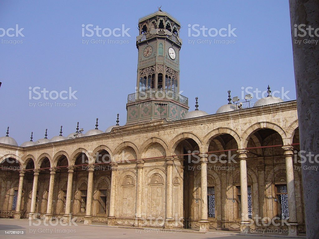 Galleries and a clock inside the mosque royalty-free stock photo
