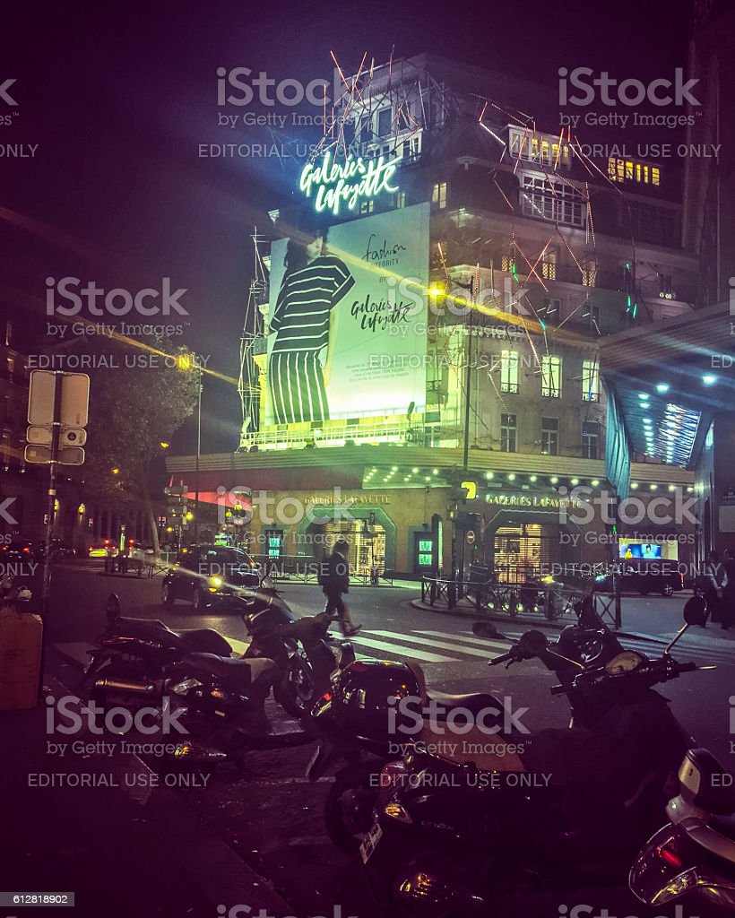 Galleries Lafayette illuminated at night, Paris, France stock photo
