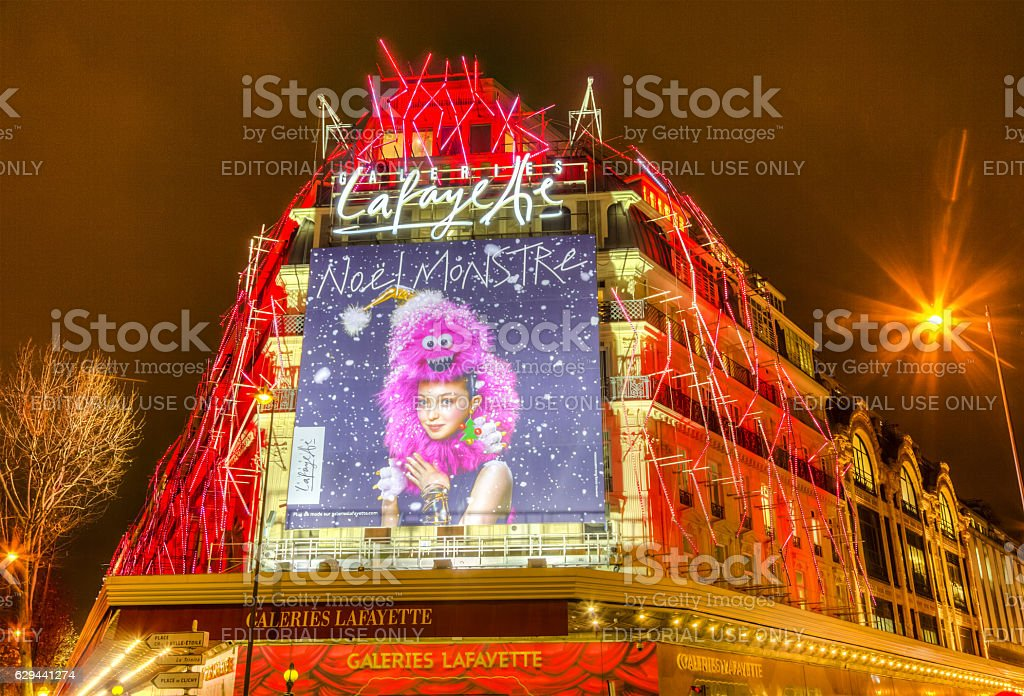 Galleries Lafayette in a Winter Night in Paris stock photo