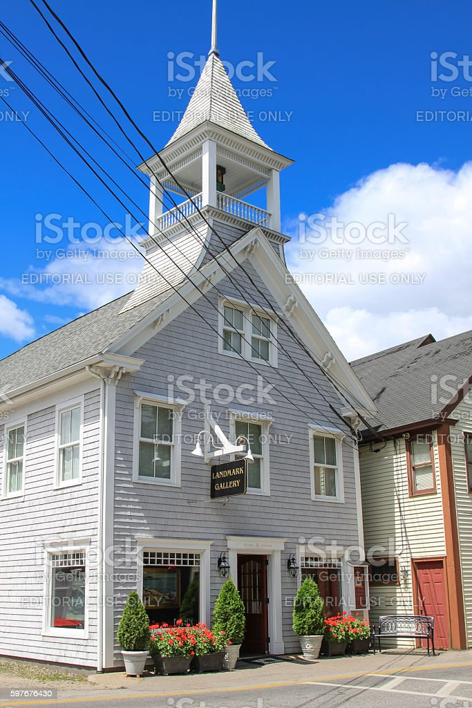 Gallery on Ocean Avenue in Kennebunkport, Maine, USA. stock photo