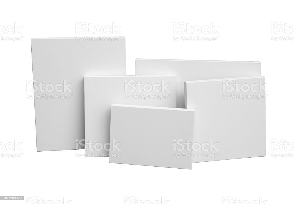 Gallery wrapped blank canvas on wooden frame. Stretcher bar stock photo