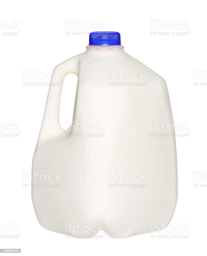 gallon Milk Bottle with blue Cap Isolated on White stock photo