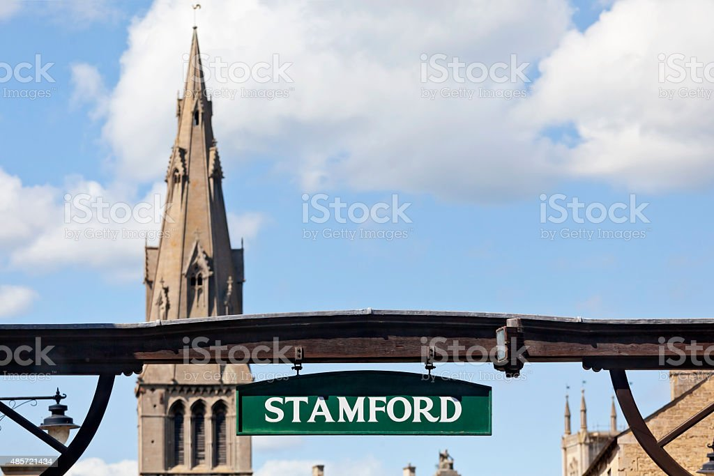 Gallows Sign and St Marys Church Stamford stock photo