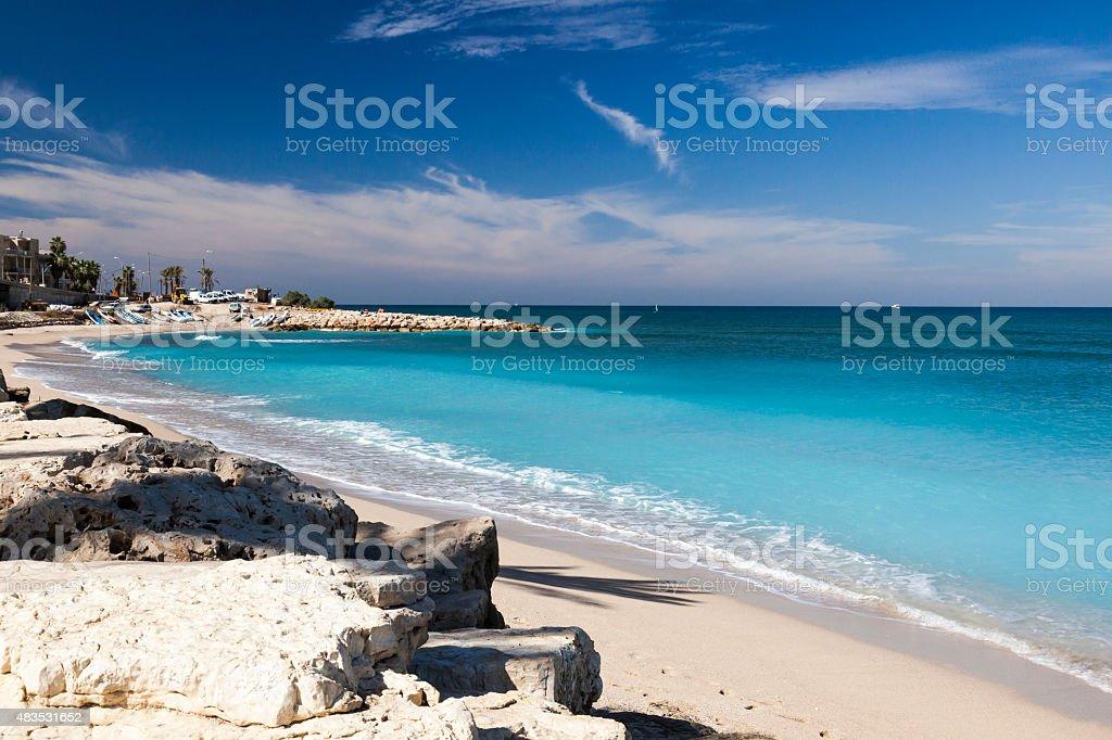 Galshanim beach. Haifa. Israel. stock photo