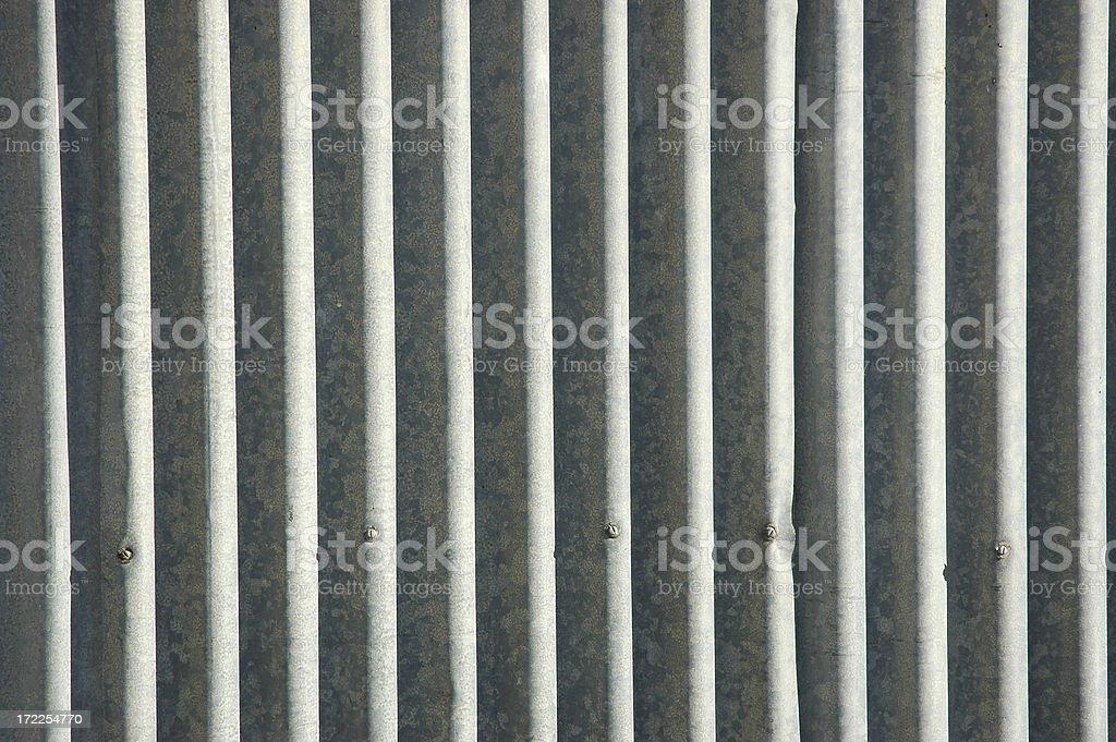 Galvanised corrugated iron stock photo