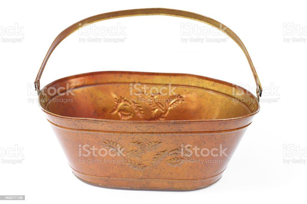 Galvanized bucket isolated white background royalty-free stock photo