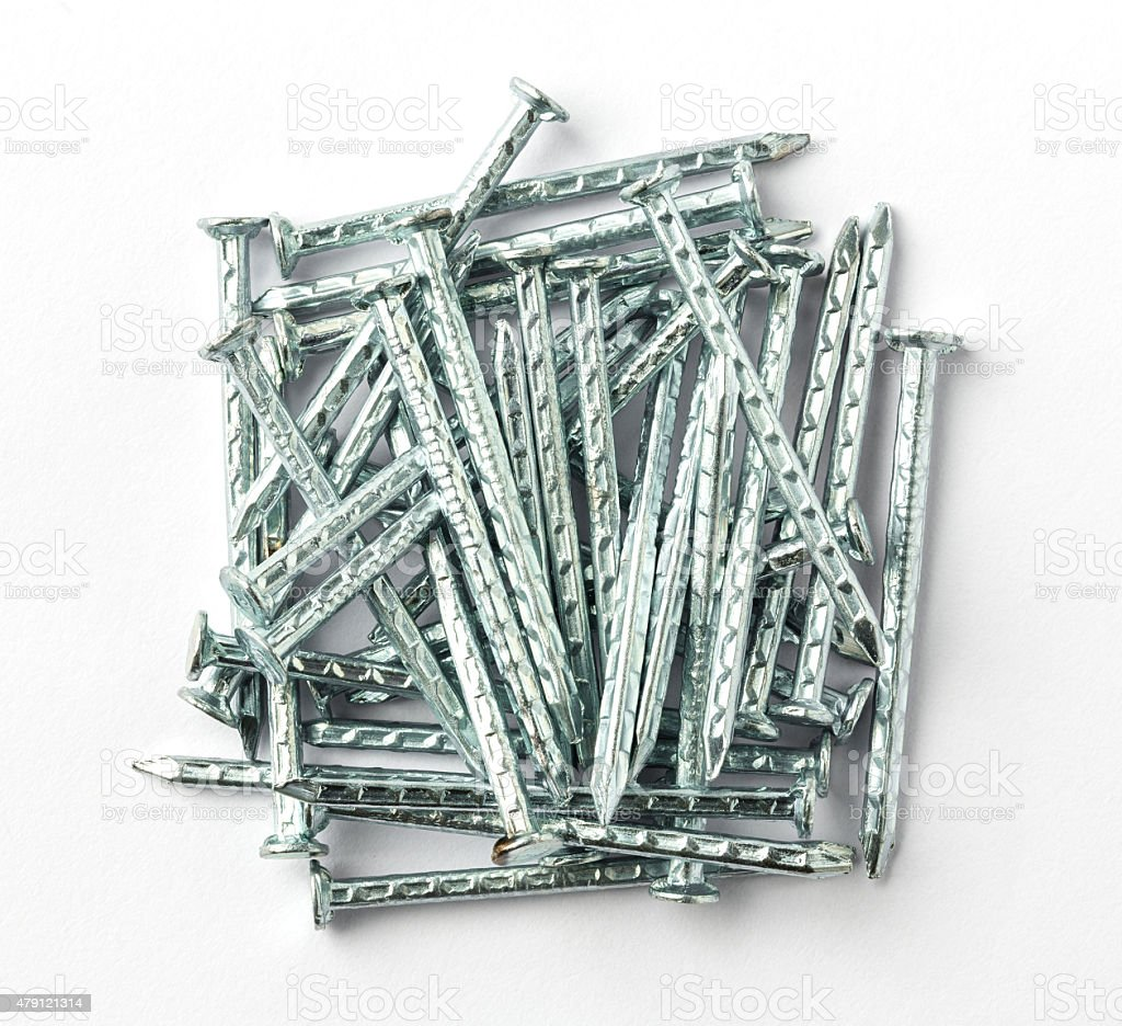 Galvanized iron nails stock photo