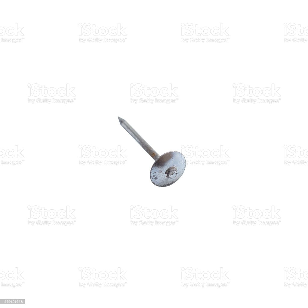 Galvanized nail isolated on a white background stock photo