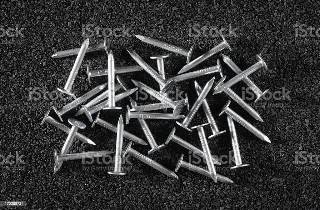Galvanized roofing nails stock photo
