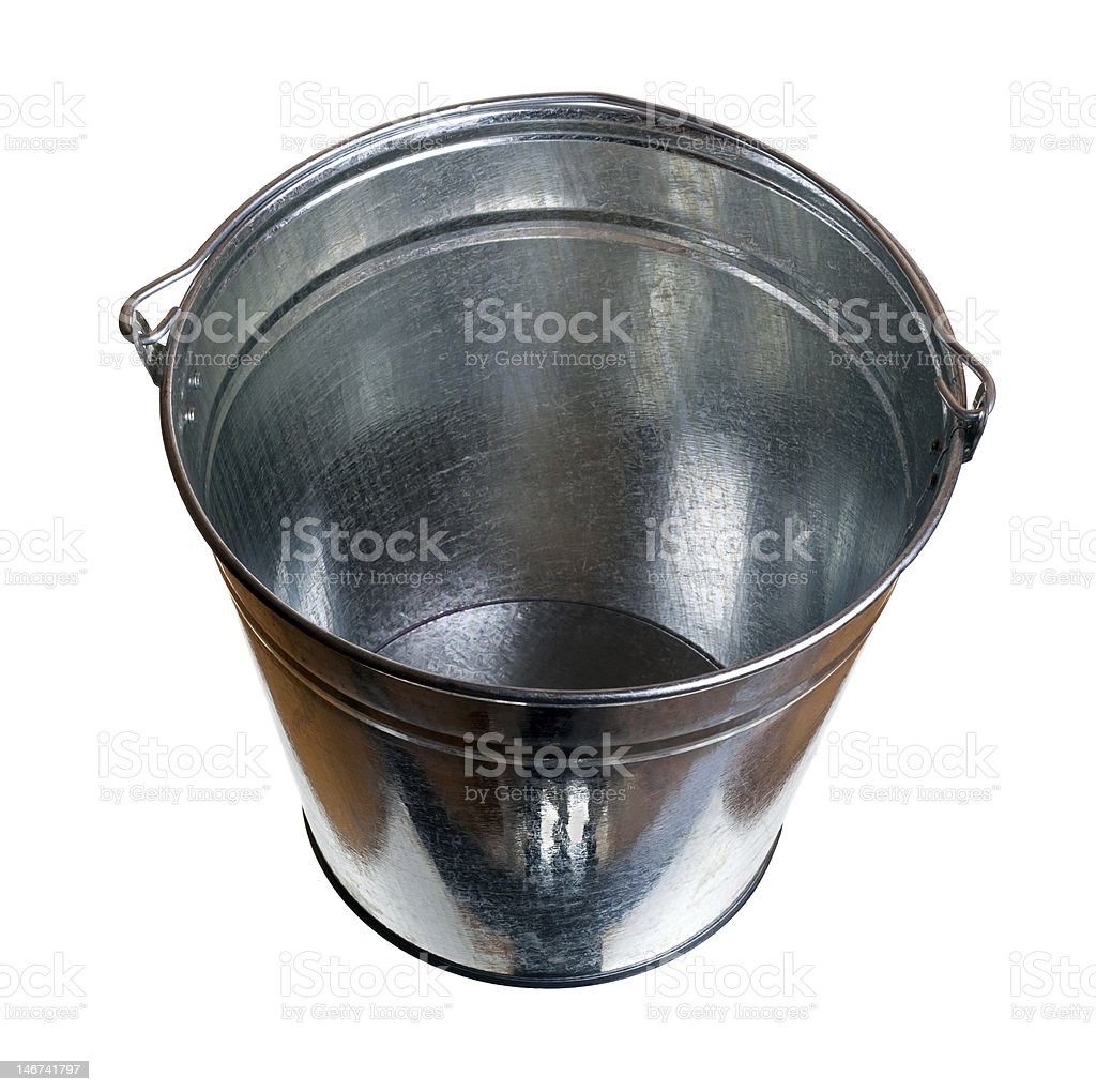 Galvanized steel bucket stock photo