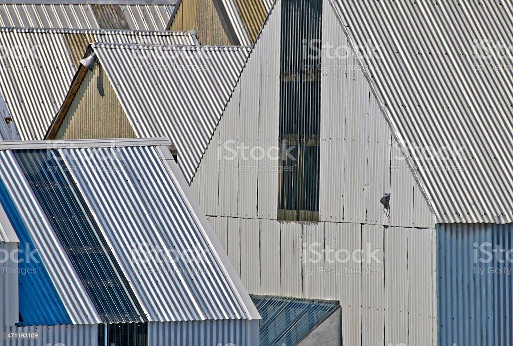 Galvanized tin boathouses royalty-free stock photo