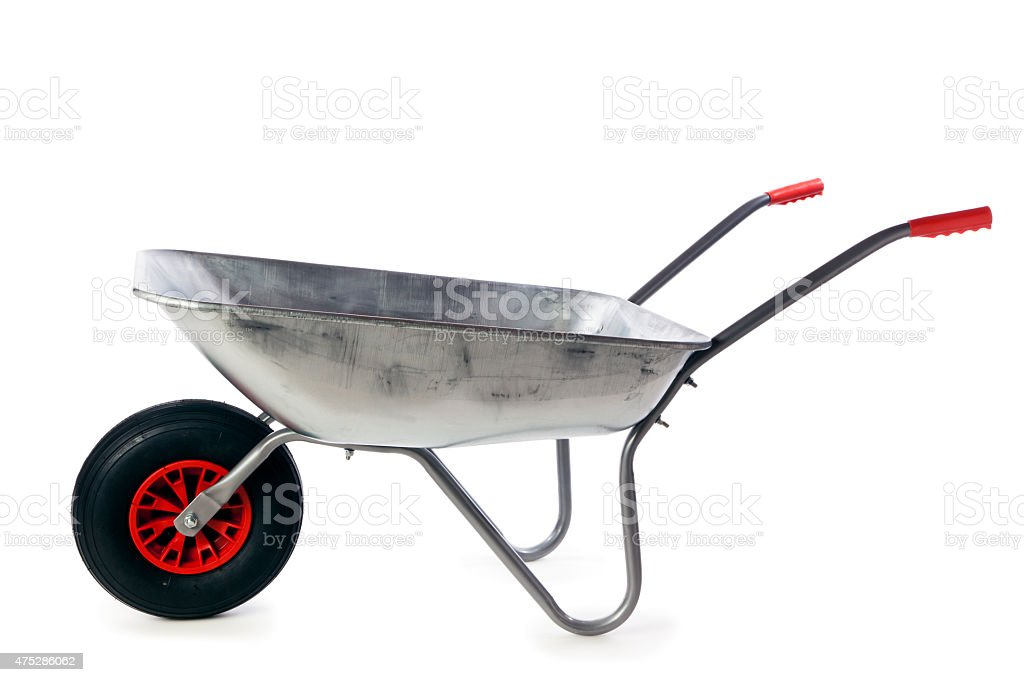Galvanized wheelbarrow isolated stock photo