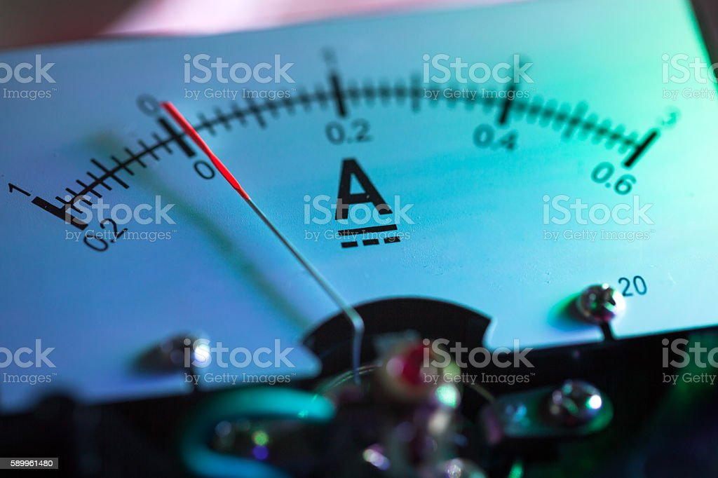 galvanometer in lab illuminated with neon light stock photo
