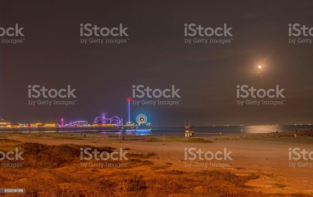 Galveston Beach Moon rise stock photo