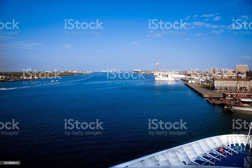 Galveston harbor off the bough of a ship stock photo