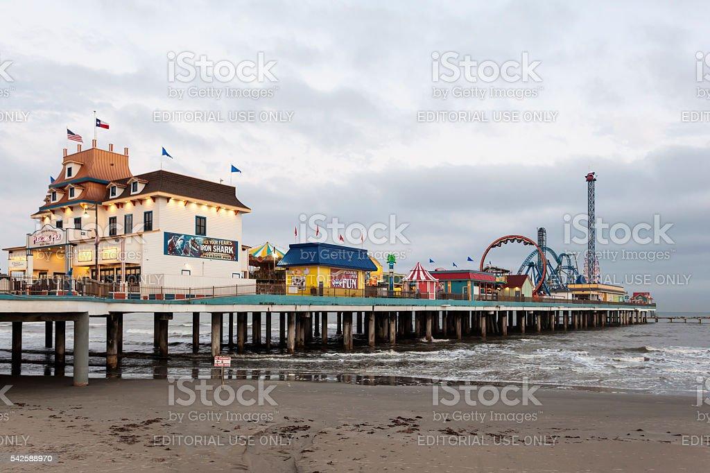 Galveston Island Pleasure Pier at dusk stock photo
