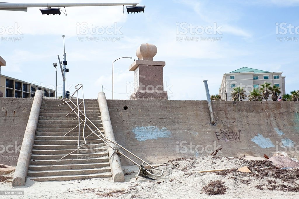Galveston Island sea wall, nine months after Hurricane Ike. royalty-free stock photo