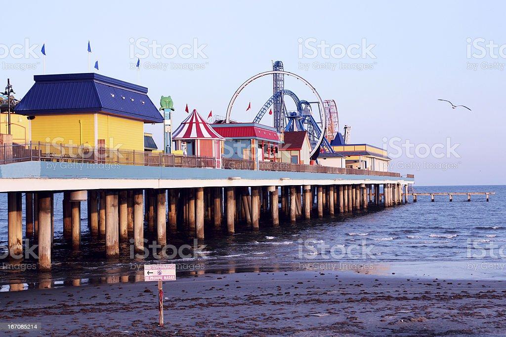 Galveston pier amusement park stock photo