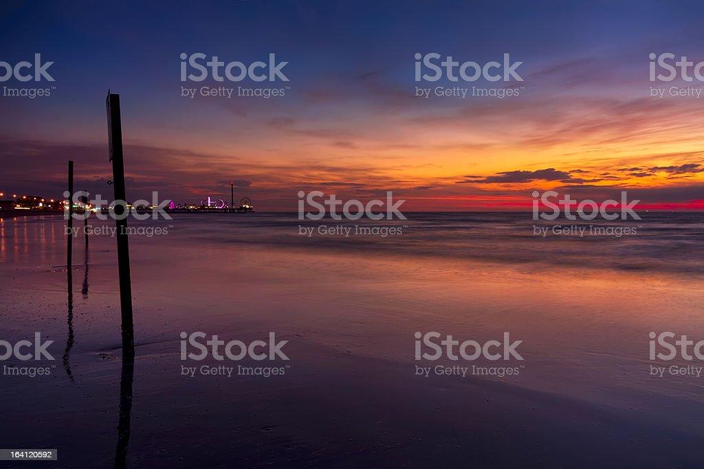 Galveston Pleasure Pier at Sunrise stock photo