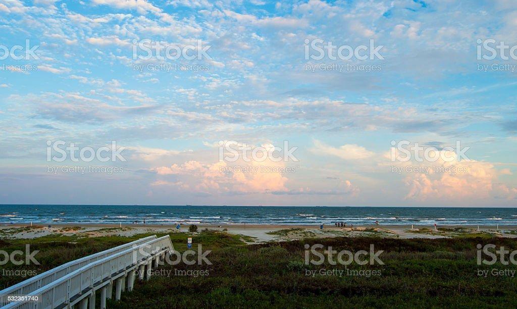 Galveston Sunset stock photo