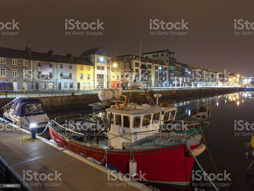 Galway Docks at night stock photo
