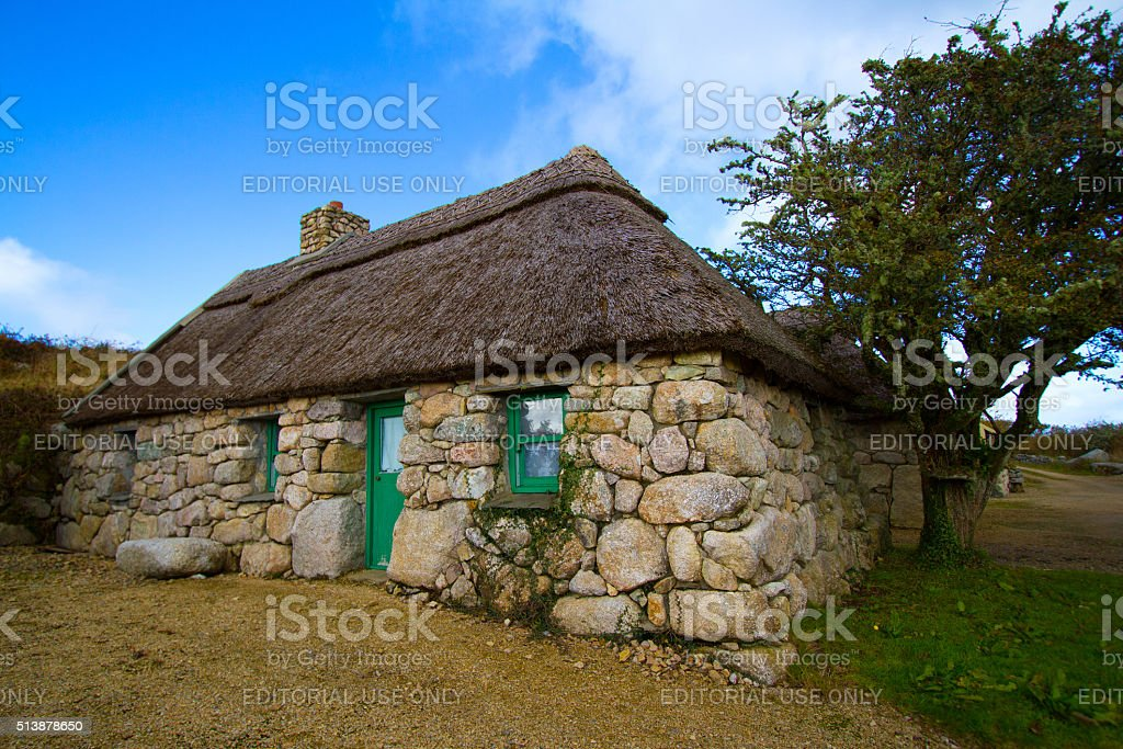Galway, Ireland: Beautiful Old Stone House with Thatched Roof stock photo