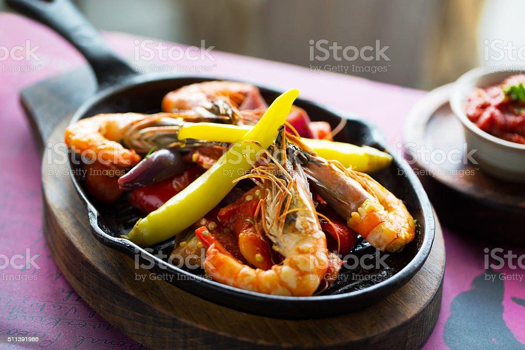 Gambas pilpil - shrimps stock photo