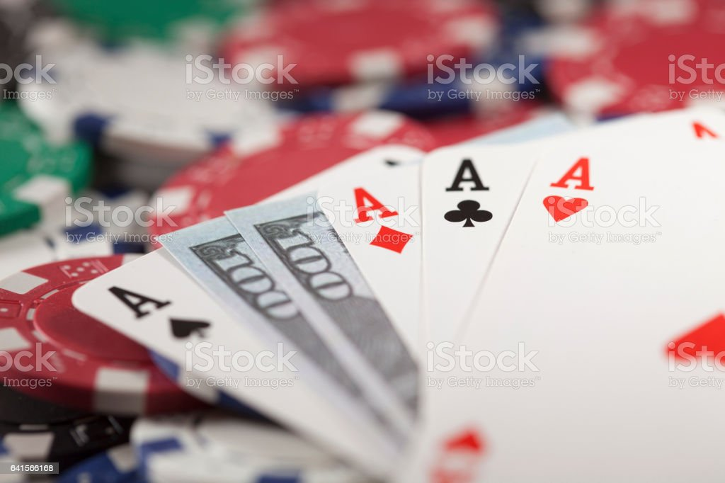 Gambling chip, Playing cards and poker stock photo