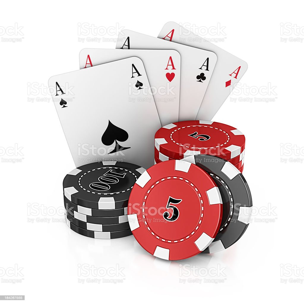 gambling chips and aces cards royalty-free stock photo